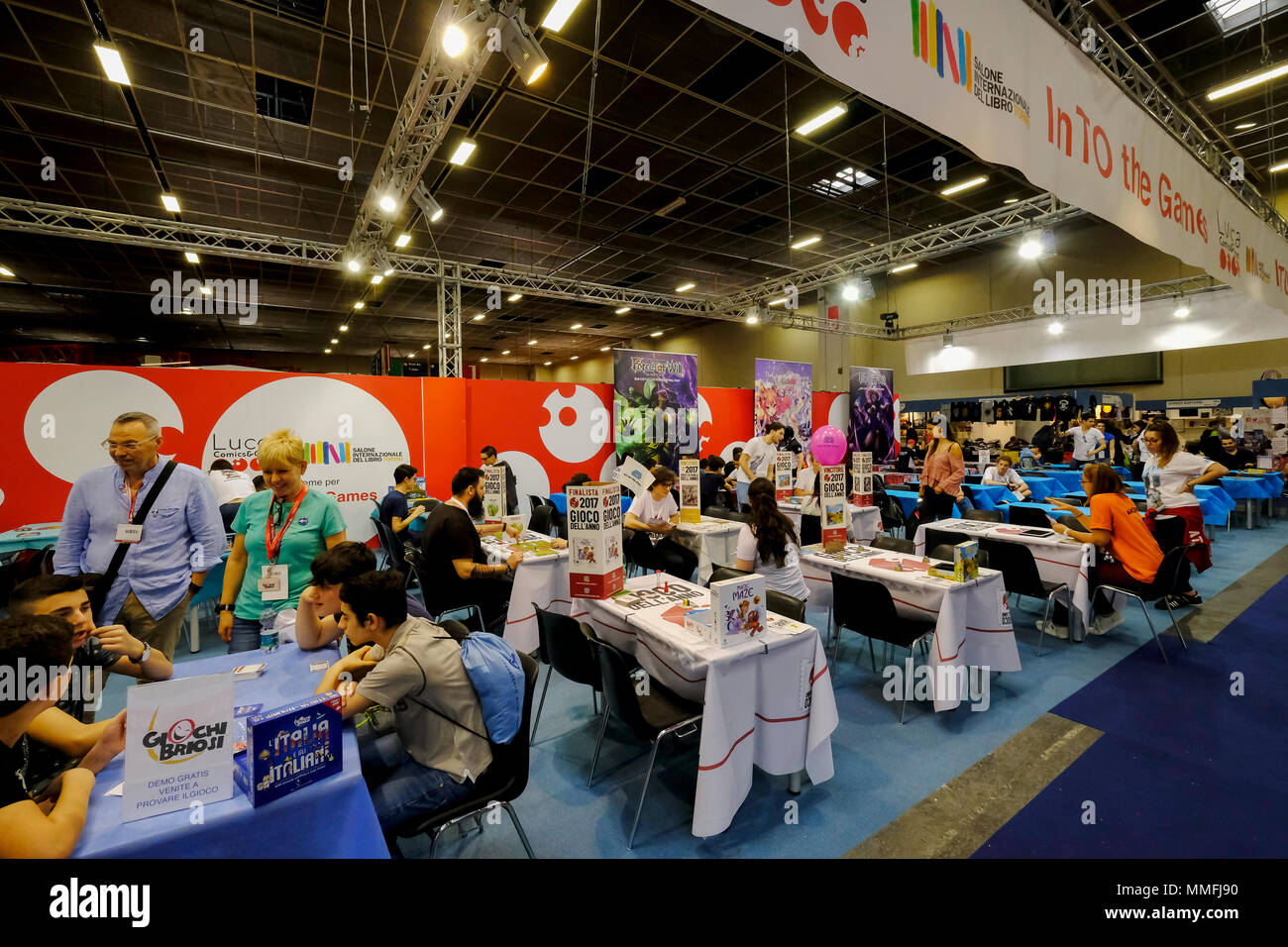 Turin, Piedmont, Italy, 10th May, 2018. International Book fair 2018,first day.Lucca comics and games stand Credit: RENATO VALTERZA/Alamy Live News - Stock Image