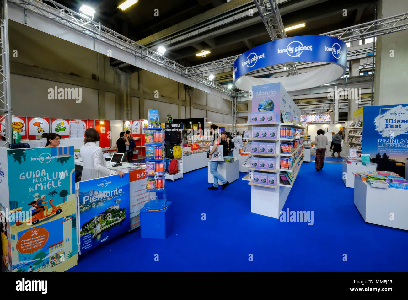 Turin, Piedmont, Italy, 10th May, 2018. International Book fair 2018,first day.Lonely Planet publisher's stand Credit: RENATO VALTERZA/Alamy Live News - Stock Image