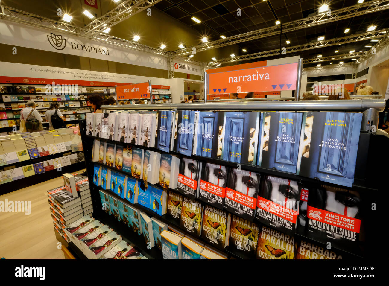 Turin, Piedmont, Italy, 10th May, 2018. International Book fair 2018,first day.Bompiani publisher's stand Credit: RENATO VALTERZA/Alamy Live News - Stock Image