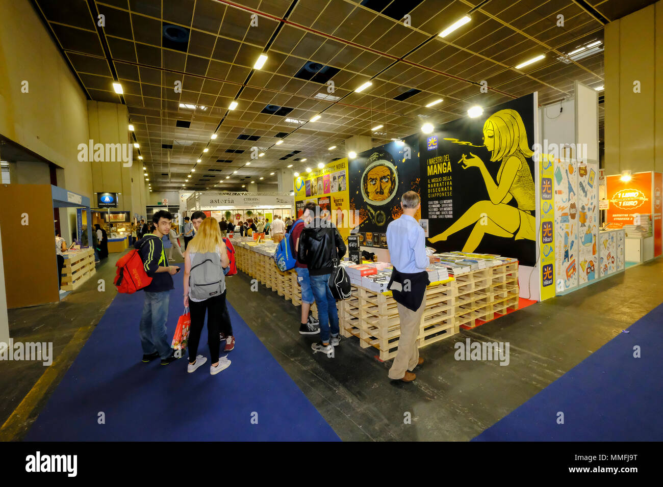 Turin, Piedmont, Italy, 10th May, 2018. International Book fair 2018,first day.Hikari publisher's stand Credit: RENATO VALTERZA/Alamy Live News - Stock Image