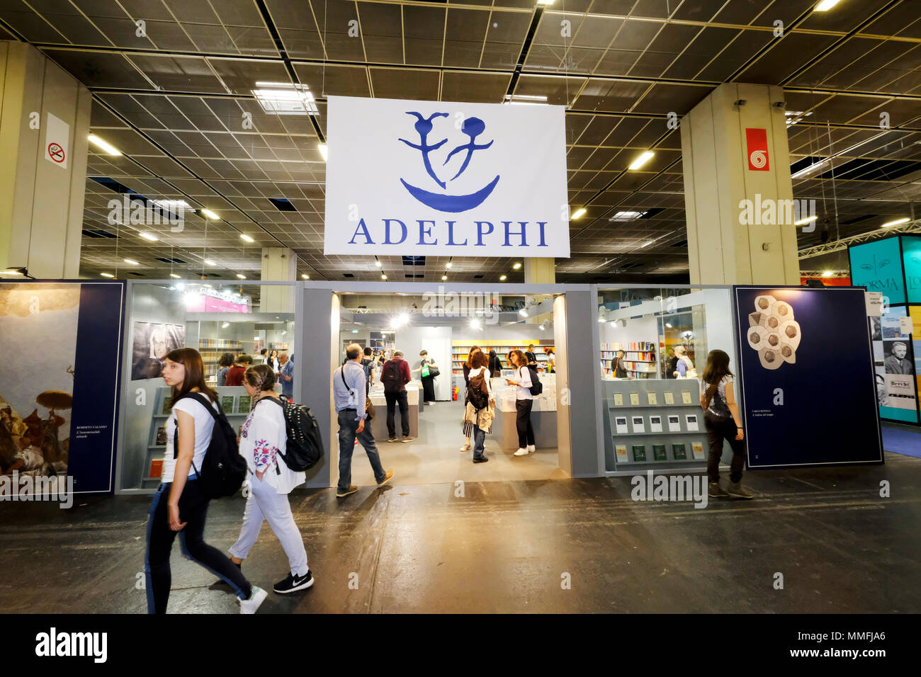 Turin, Piedmont, Italy, 10th May, 2018. International Book fair 2018,first day.Adelphy publisher's stand Credit: RENATO VALTERZA/Alamy Live News - Stock Image