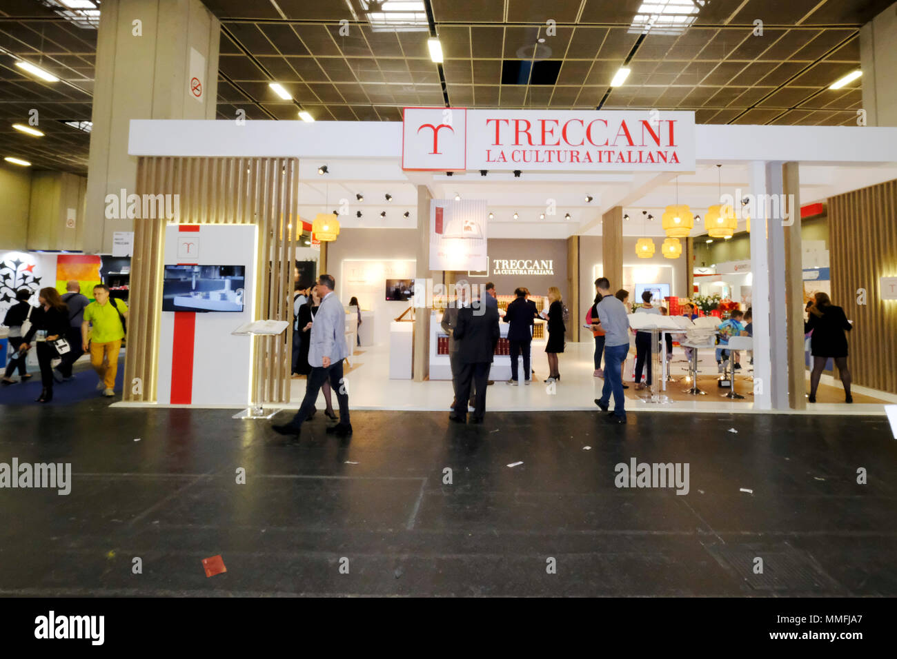 Turin, Piedmont, Italy, 10th May, 2018. International Book fair 2018,first day.Treccani publisher's stand Credit: RENATO VALTERZA/Alamy Live News - Stock Image