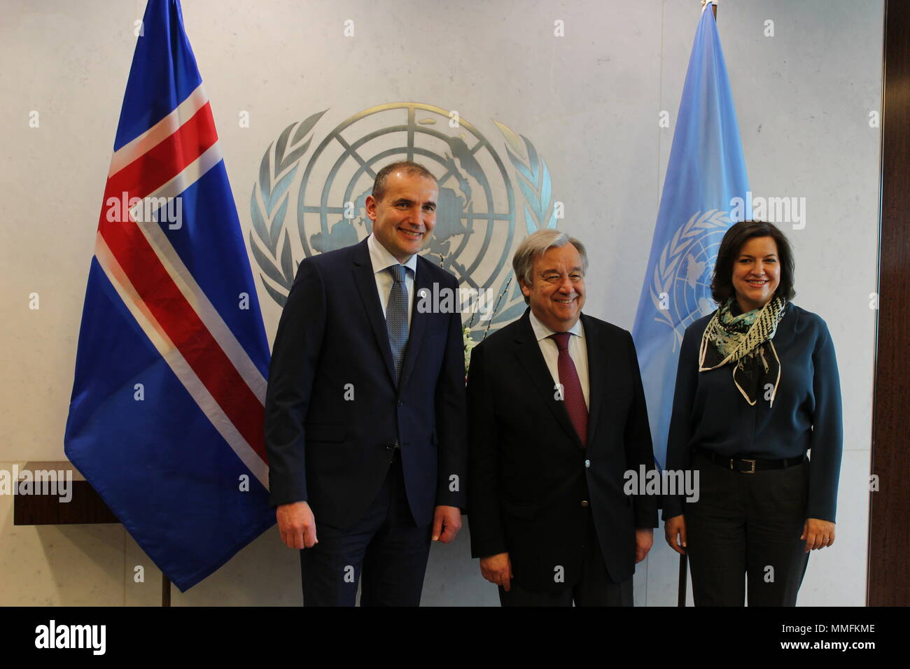 UN, New York, USA. 11th May, 2018. Iceland's President Gudni Th. Johannesson and First Lady Eliza Reid met UN Sec Gen Antonio Guterres and signed UN Visitors' Book. Photo: Matthew Russell Lee / Inner City PressStock Photo