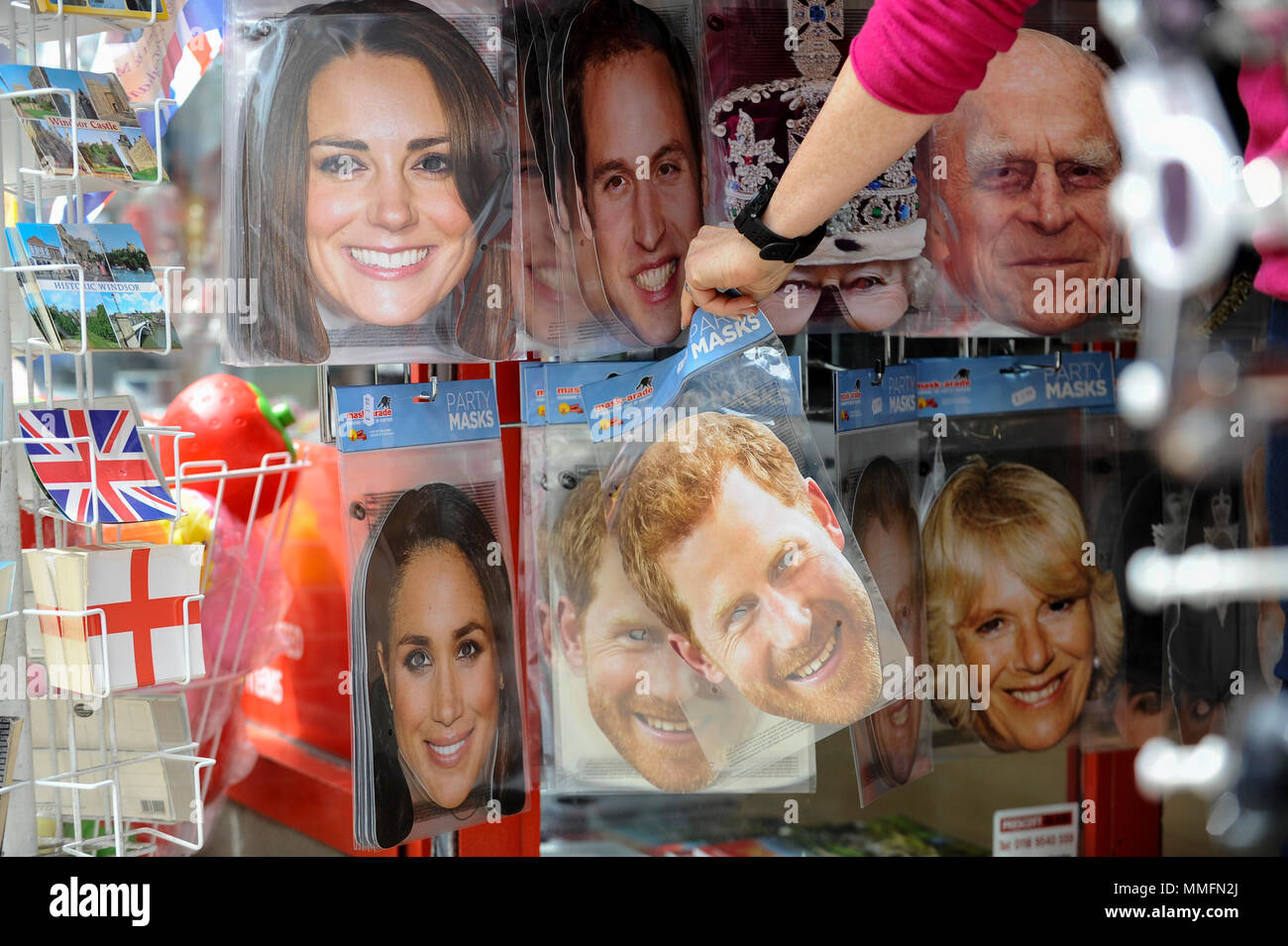 49d45d2863b Face masks featuring the Royal Family on display in a souvenir ...