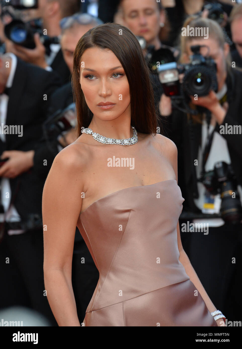 """CANNES, FRANCE. May 11, 2018: Bella Hadid at the gala screening for """"Ash Is The Purest White"""" at the 71st Festival de Cannes Picture: Sarah Stewart Credit: Sarah Stewart/Alamy Live News Stock Photo"""