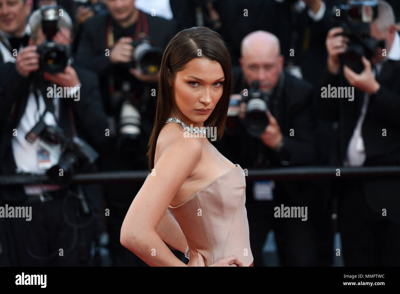 Cannes, France. May 11, 2018 - Cannes, France: Bella Hadid attends the 'Ash is the Purest White' premiere during the 71st Cannes film festival. Credit: Idealink Photography/Alamy Live News Stock Photo