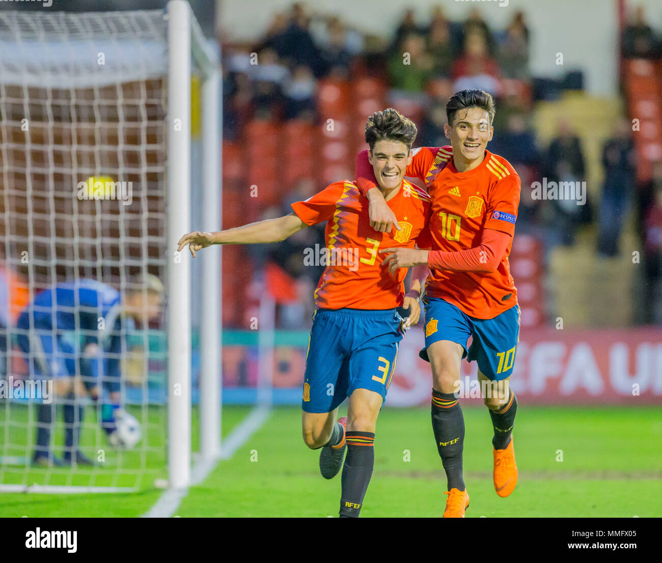 11th May Bankss Stadium, Walsall, England; UEFA Under 17 European Championships, Spain versus Germany; Miguel Gutierrez Ortega of Spain celebrates with his team mates after scoring in the 80th minute (5-1) - Stock Image