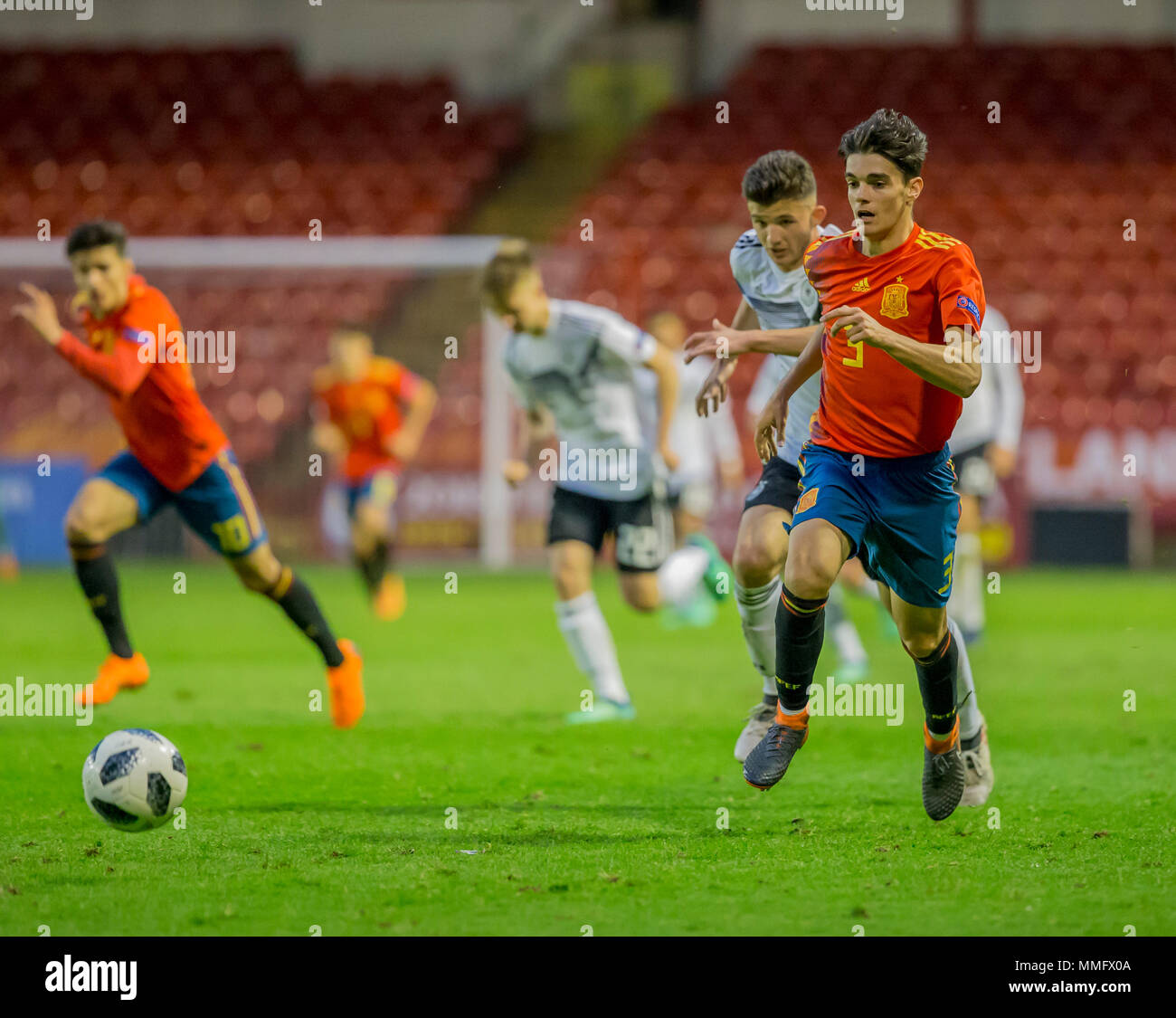 11th May Bankss Stadium, Walsall, England; UEFA Under 17 European Championships, Spain versus Germany; Miguel Gutierrez Ortega of Spain chasing the ball down - Stock Image