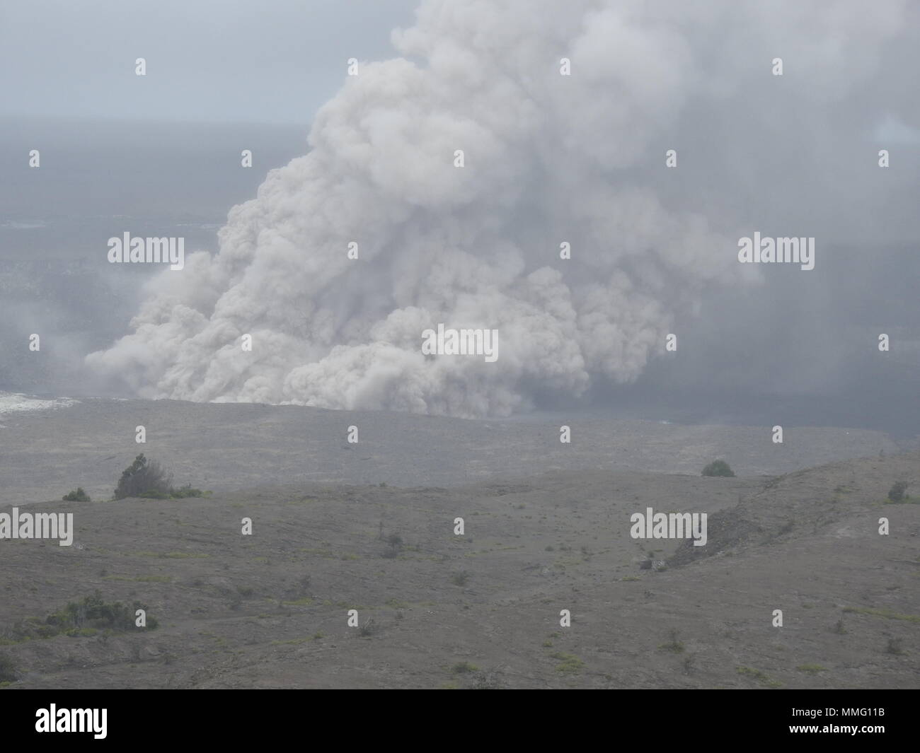 Ash Plume from Kilauea Volcano Hawaii today (05/15/2018 HST) or 05/16/2018 Stock Photo