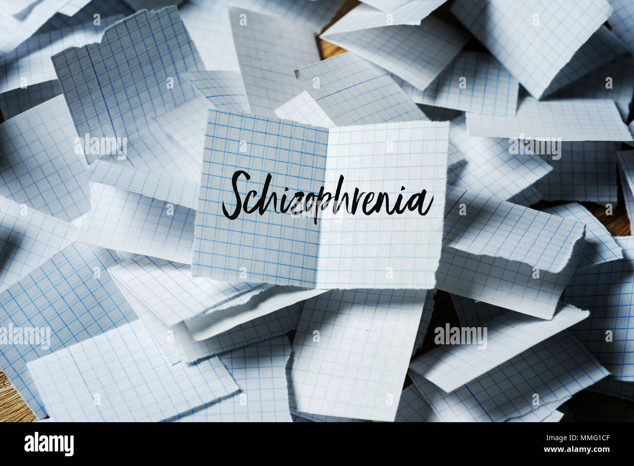 a pile of pieces of paper folded in half, and the text schizophrenia in one of them unfolded on top - Stock Image