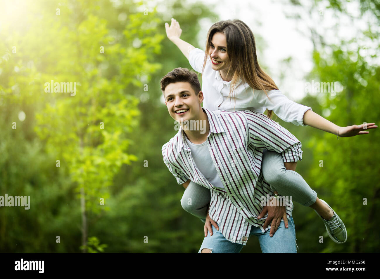 Hipster couple having fun together on a summers day Stock Photo