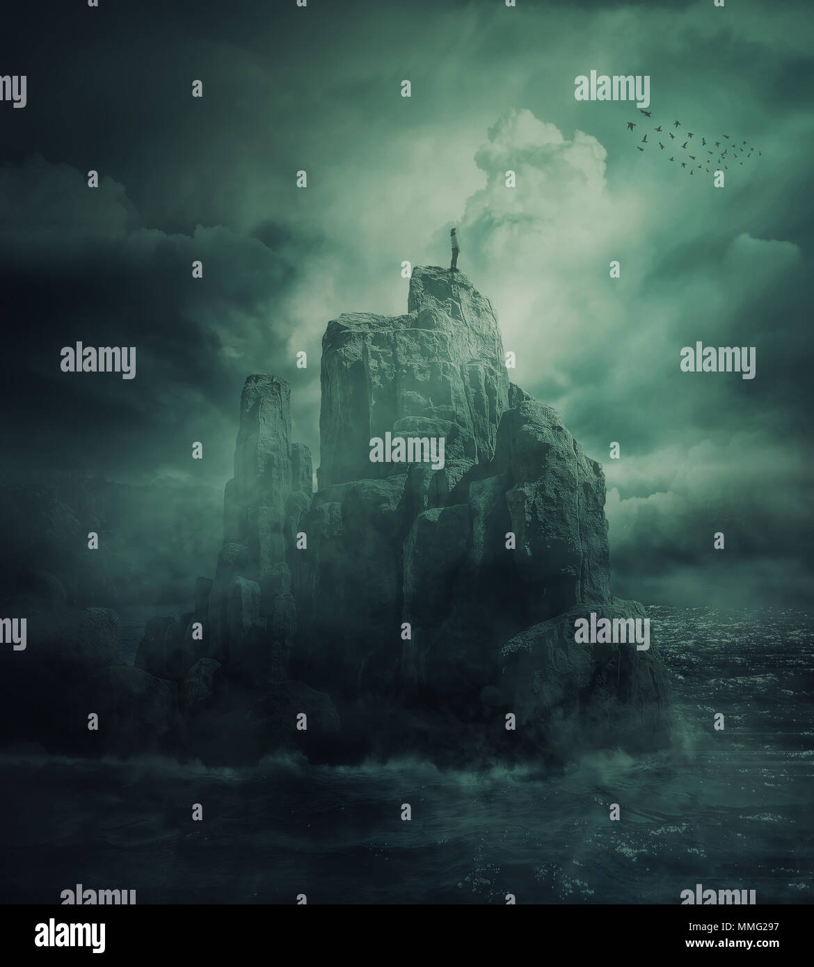 Surreal view as a lonely girl stand on the top of a cliff surrounded by the sea water watch a flock of birds flying. Risky meditation, metaphor for co - Stock Image