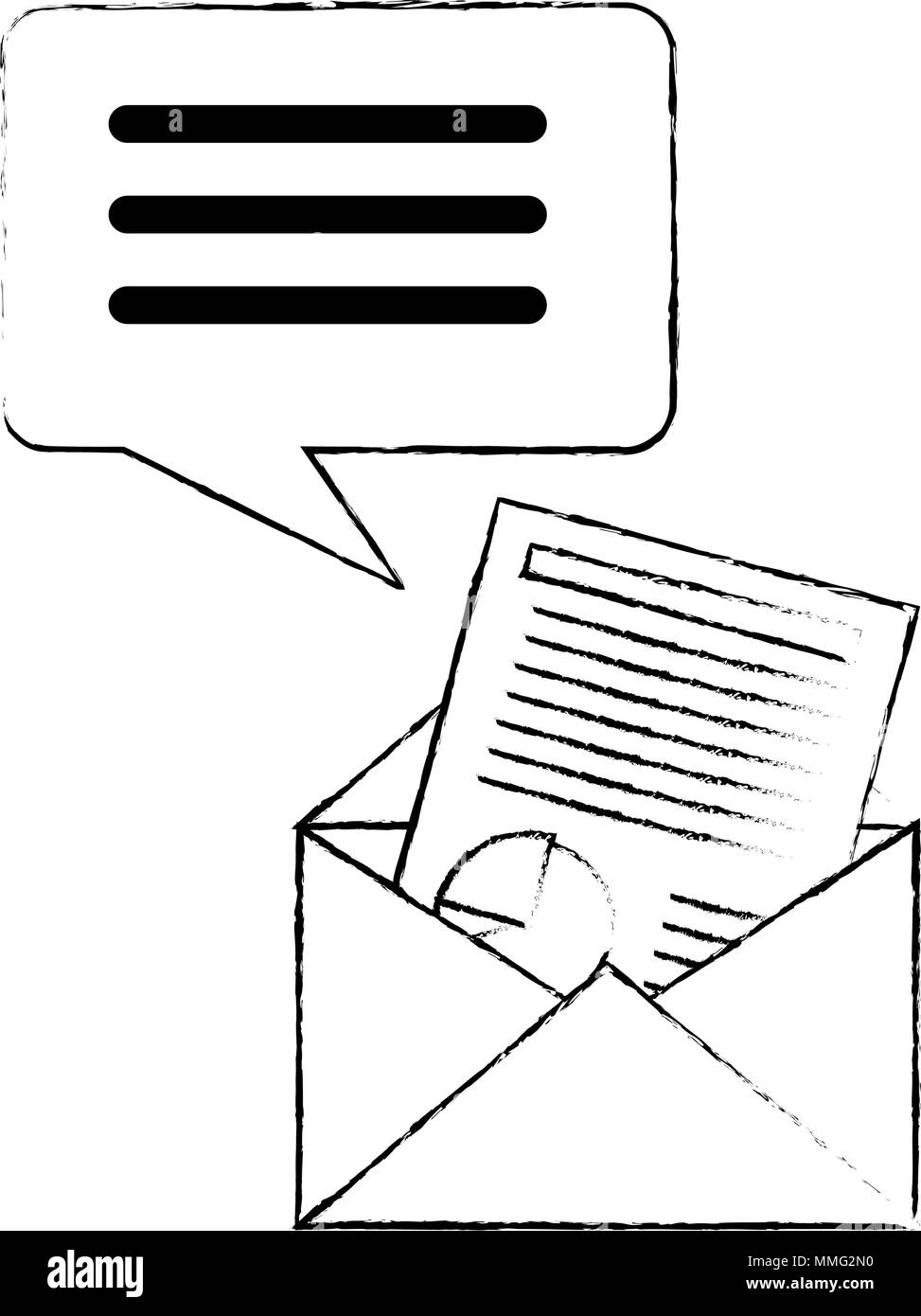 envelope mail with financial document and speech bubble vector