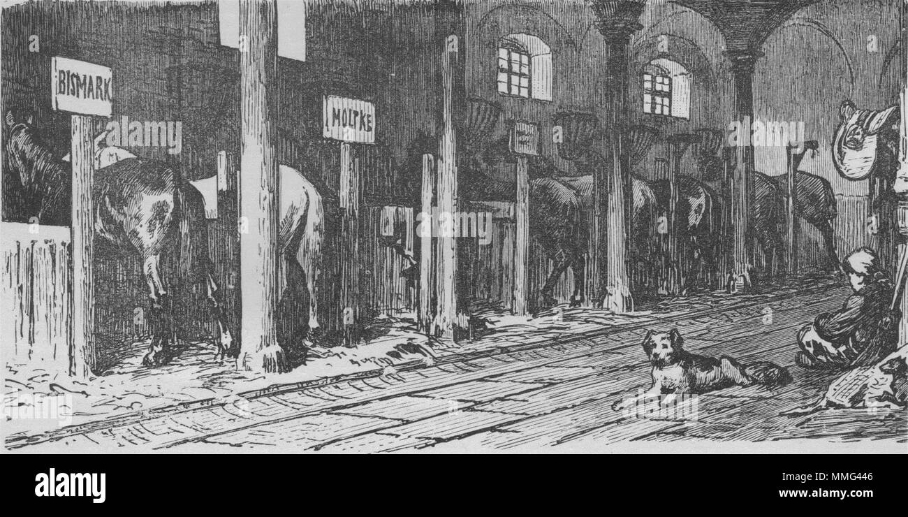MADRID. The Royal Stables 1882 old antique vintage print picture - Stock Image