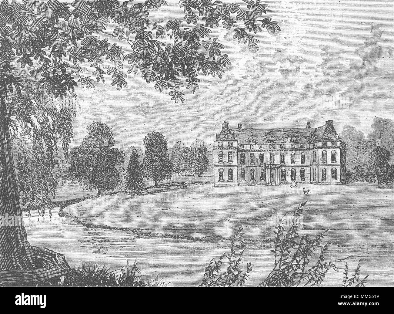 MITCHAM. Mitcham Grove in 1796 (from an old print) 1888 antique - Stock Image