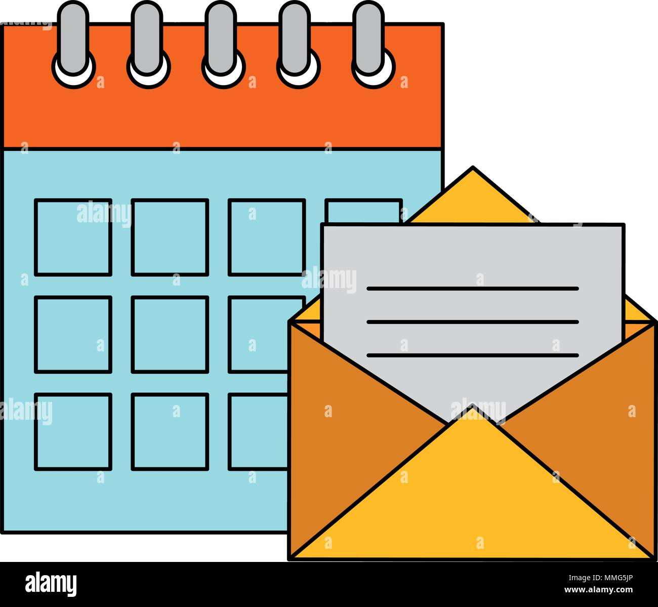 envelope mail with calendar Stock Vector
