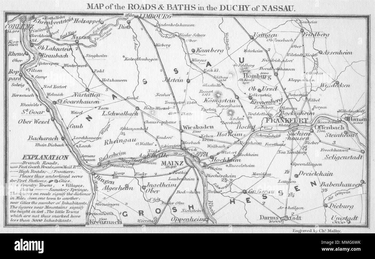 Germany Duchy Nassau Frankfurt Mainz Coghlan 1837 Old Antique Map