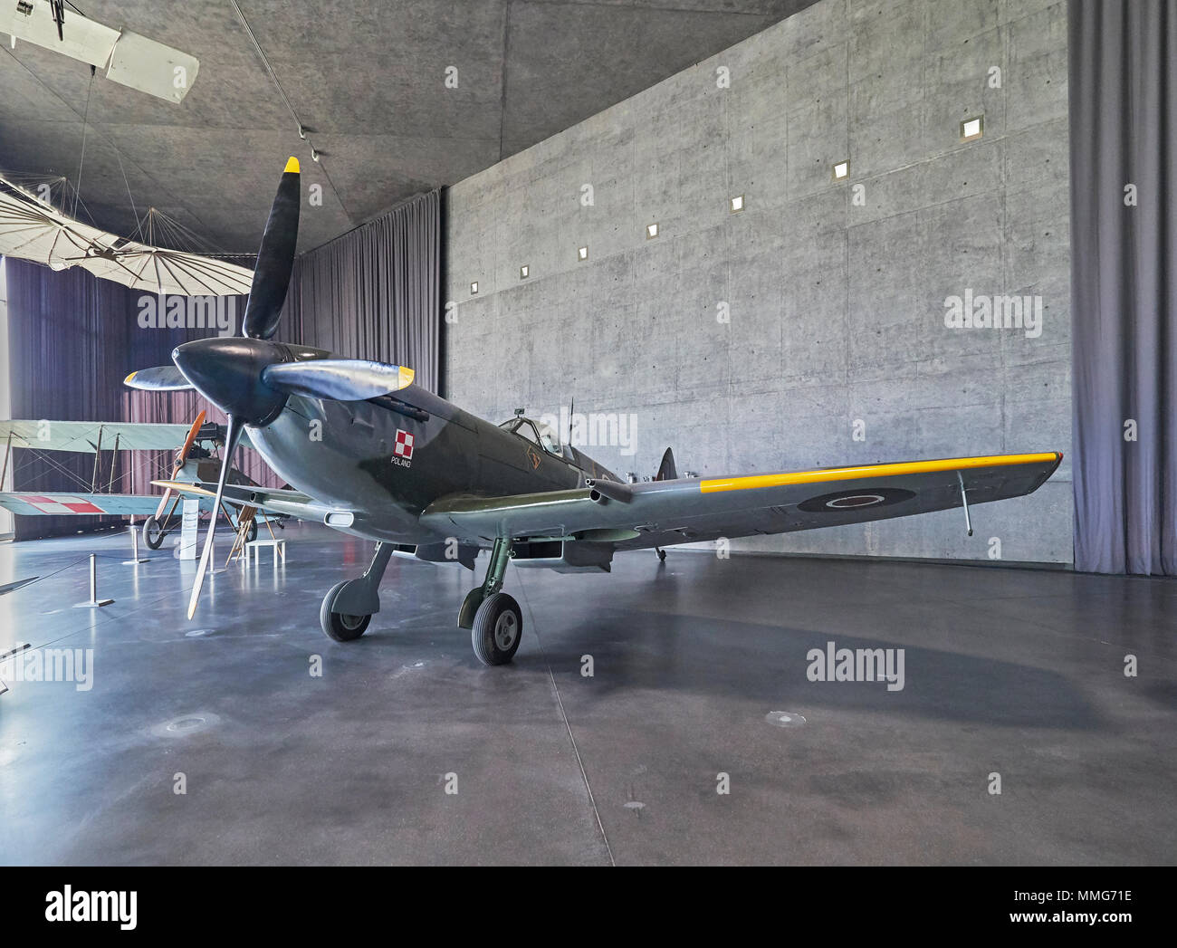Krakow Polish aviation museum and the Supermarine Spitfire LF Mk.XVIE Poland - Stock Image
