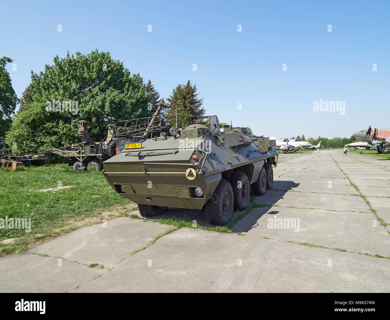 Krakow Polish aviation museum and an armoured personnel carrier Poland - Stock Image