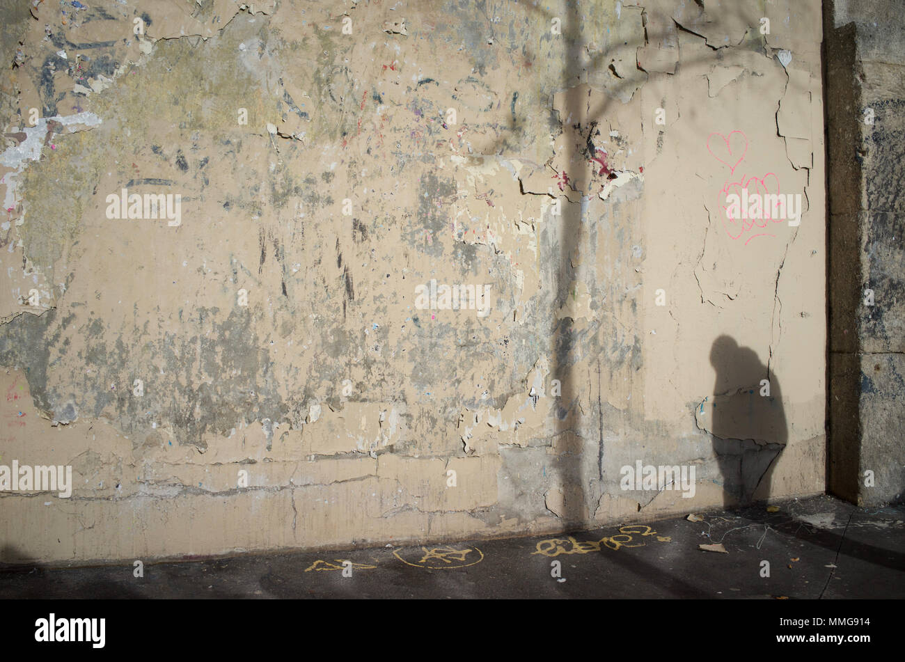 Shadow of hunched man and tree on wall (in state of disrepair), rue Clignancourt, 75018 Paris, France - Stock Image