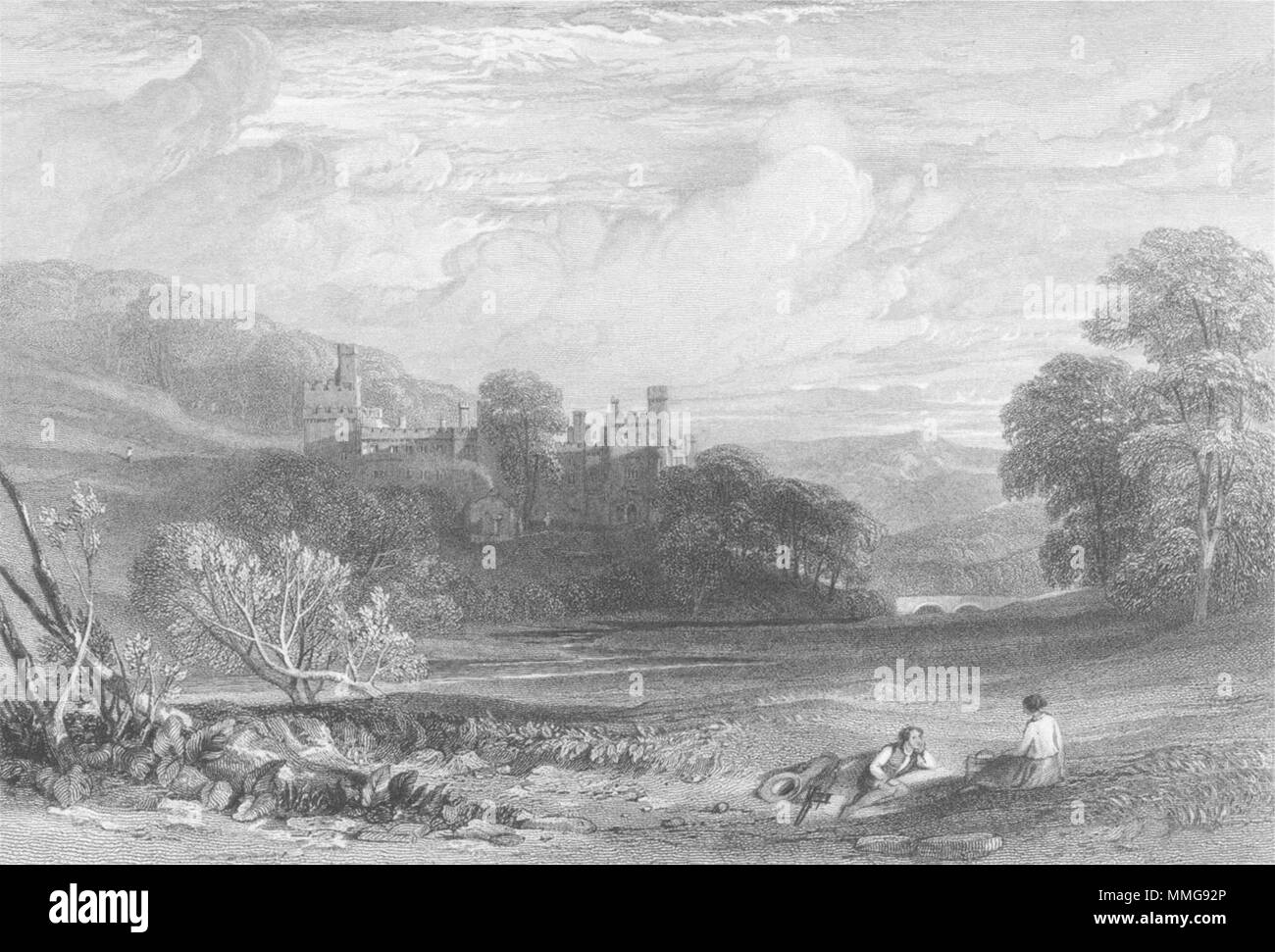 DERBYS. Haddon Hall, Derbyshire. Leitch 1850 old antique vintage print picture - Stock Image