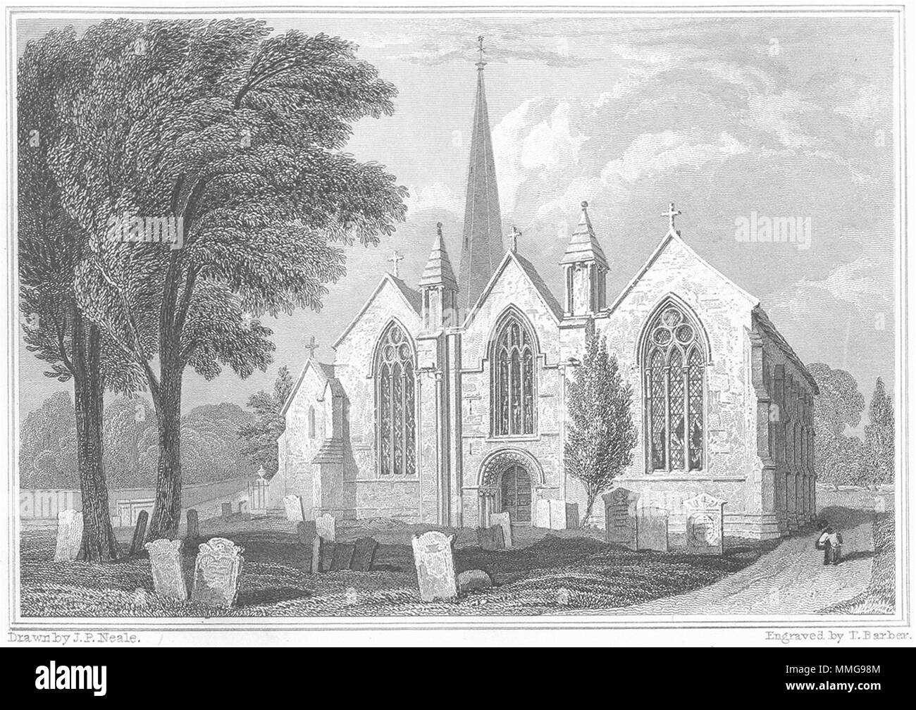 HEREFORD. Ledbury Church, Herefordshire. Keux 1824 old antique print picture - Stock Image