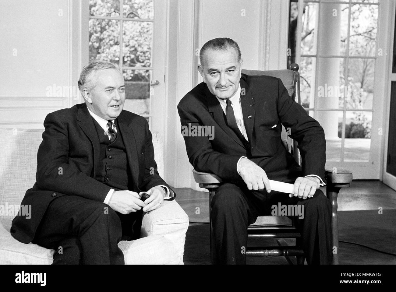 President Lyndon Baines Johnson and James Harold Wilson, Prime Minister of the United Kingdom Stock Photo