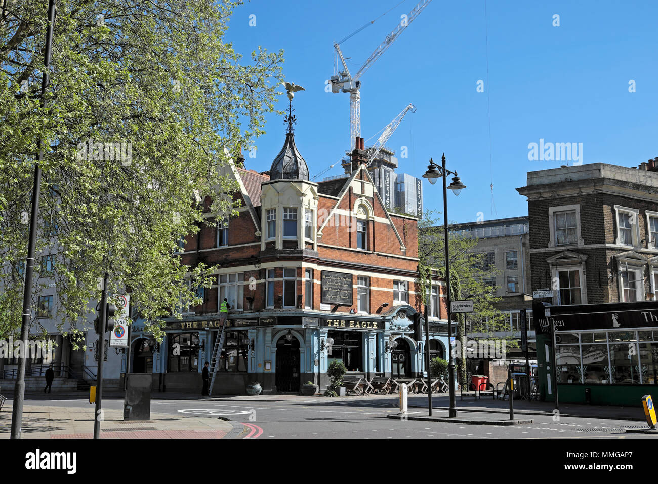 The Eagle pub exterior street view on Shepherdess near City Road in Shoreditch London N1 - Stock Image