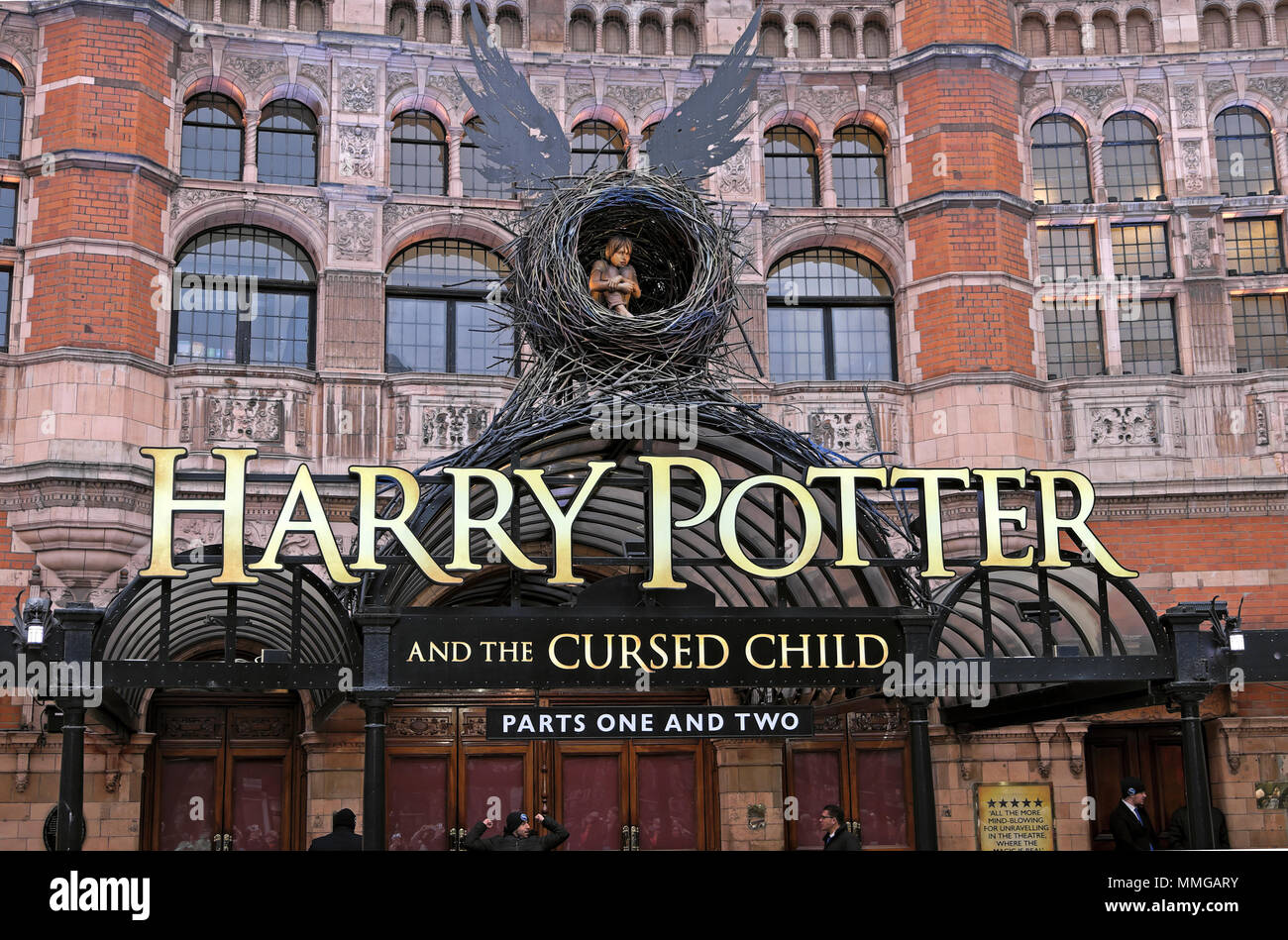 Harry Potter and the Cursed Child sign outside Shaftesbury Theatre in London UK  KATHY DEWITT - Stock Image