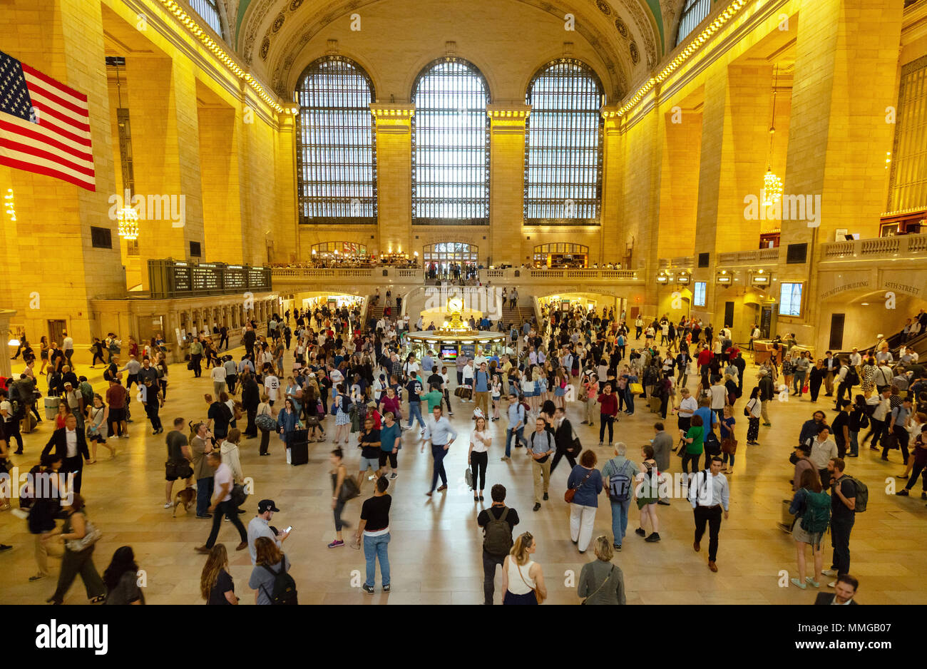 Grand Central Station interior, with crowds of people at rush hour, Grand Central Station, New York City, USA - Stock Image