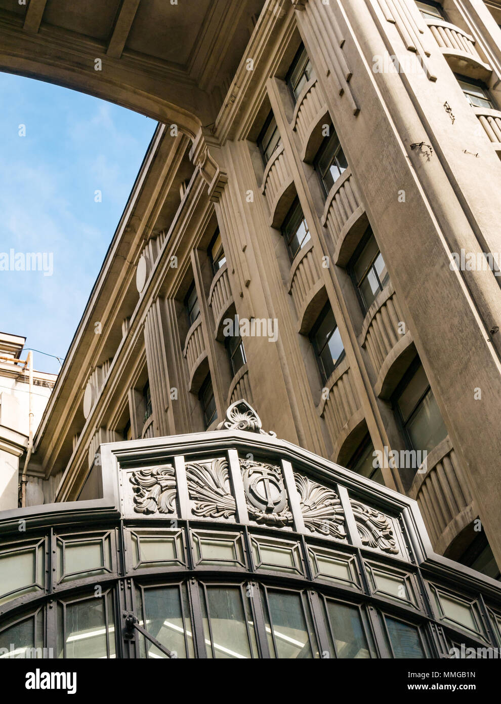Looking up at tall Art Deco building, Santiago, Chile, South America Stock Photo