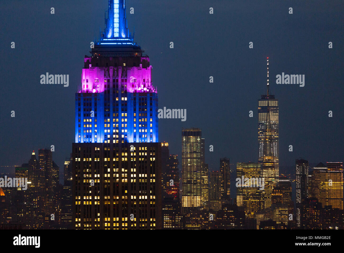 The Empire State Building and One World Trade Center at night seen from the Top of the Rock, New York city, USA - Stock Image