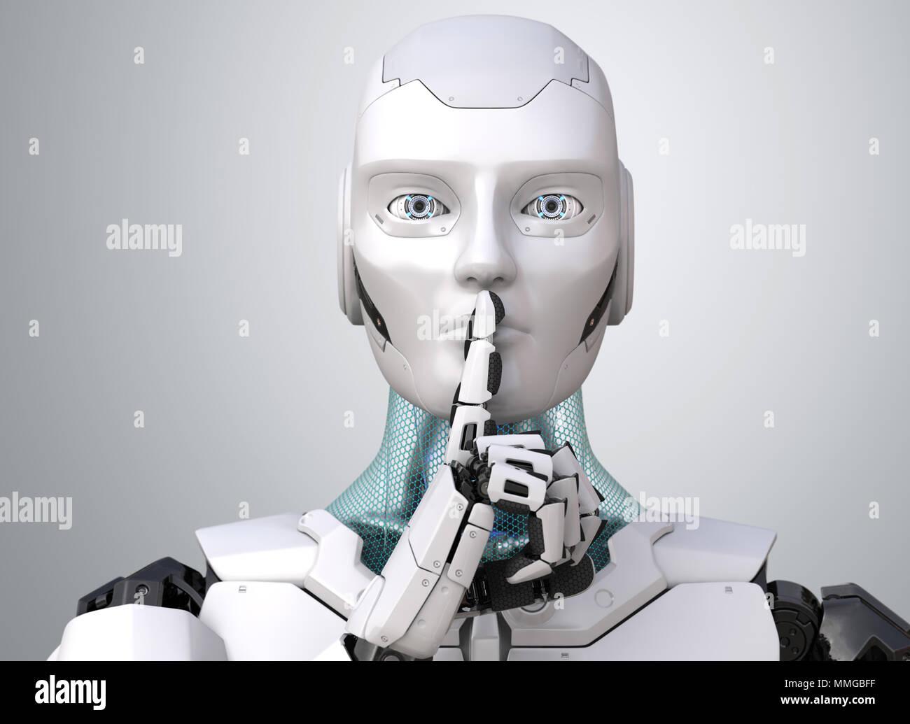 Robot with finger on lips asking for silence. 3D illustration - Stock Image