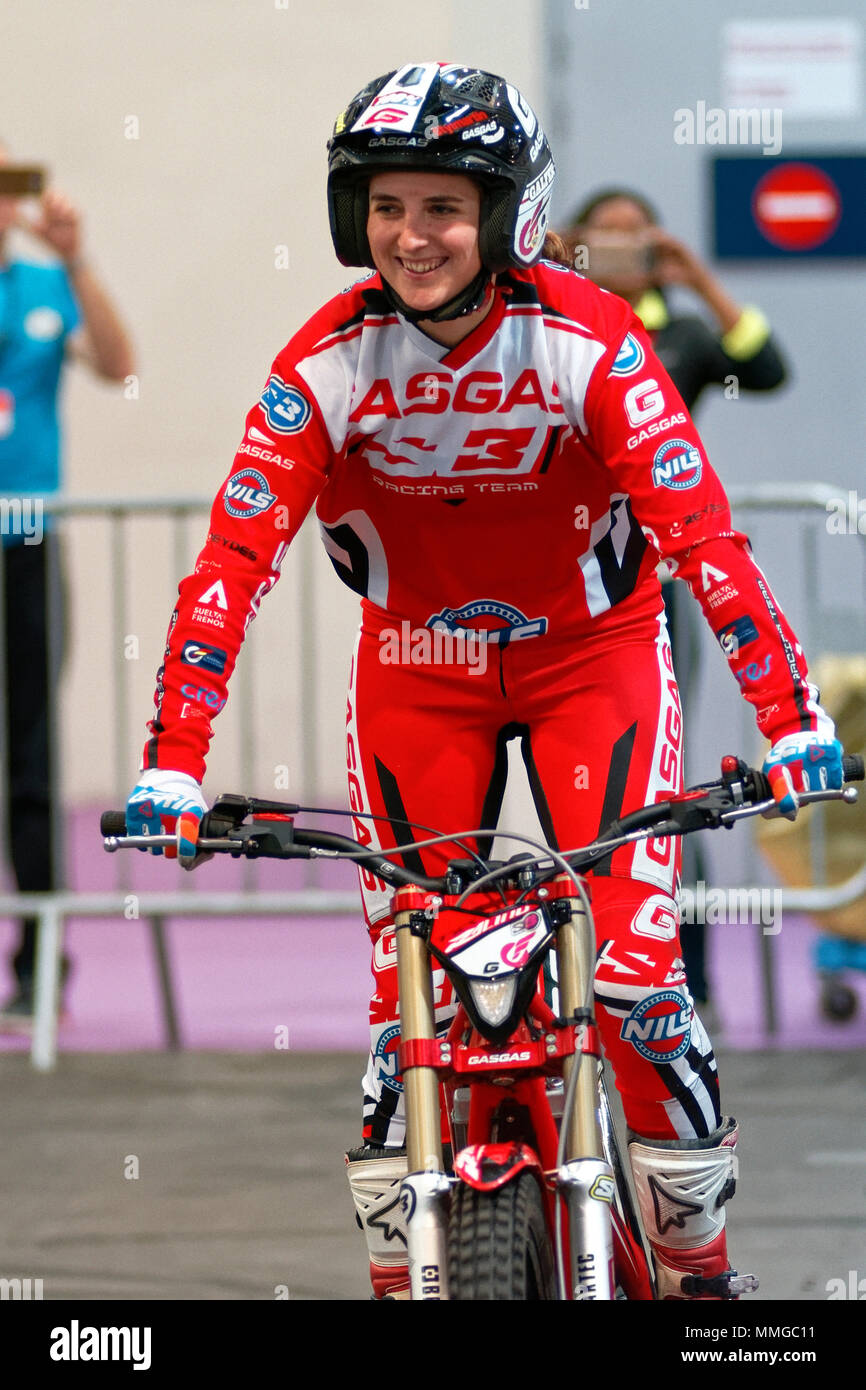 Madrid, Spain - April 06, 2018: MotorShow of the champion of trial and enduro Sandra Gomez Cantero at Vive la Moto motorcycle show in Madrid, Spain. T - Stock Image