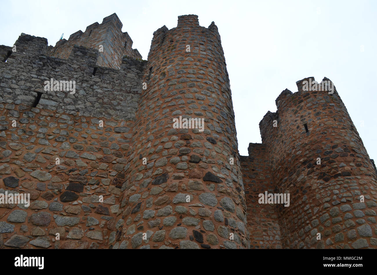 Almourol Templar castle, located in an islet in the Tagus tiver, central Portugal - Stock Image