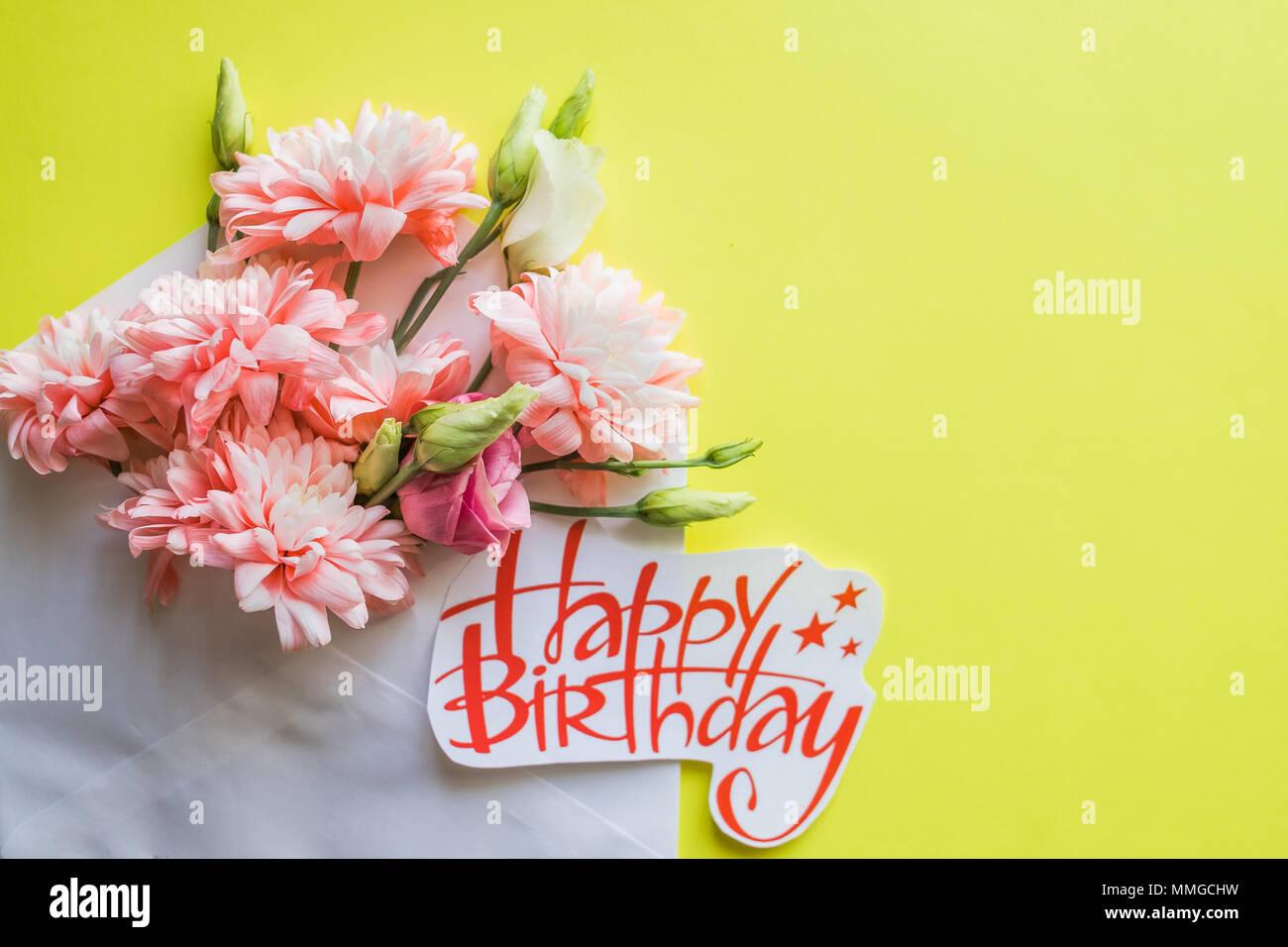 Soft pink chrysanthemums and happy birthday posterautiful flowers soft pink chrysanthemums and happy birthday posterautiful flowers card with spring bouquethappy birthday card with chrysanthemums izmirmasajfo
