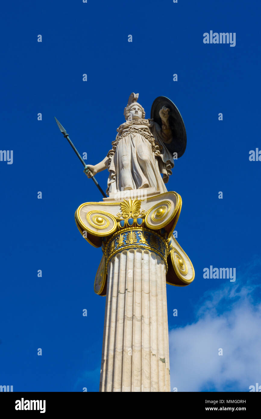 Athena statue, Greek goddess of wisdom in the Academy of Athens in Greece - Stock Image