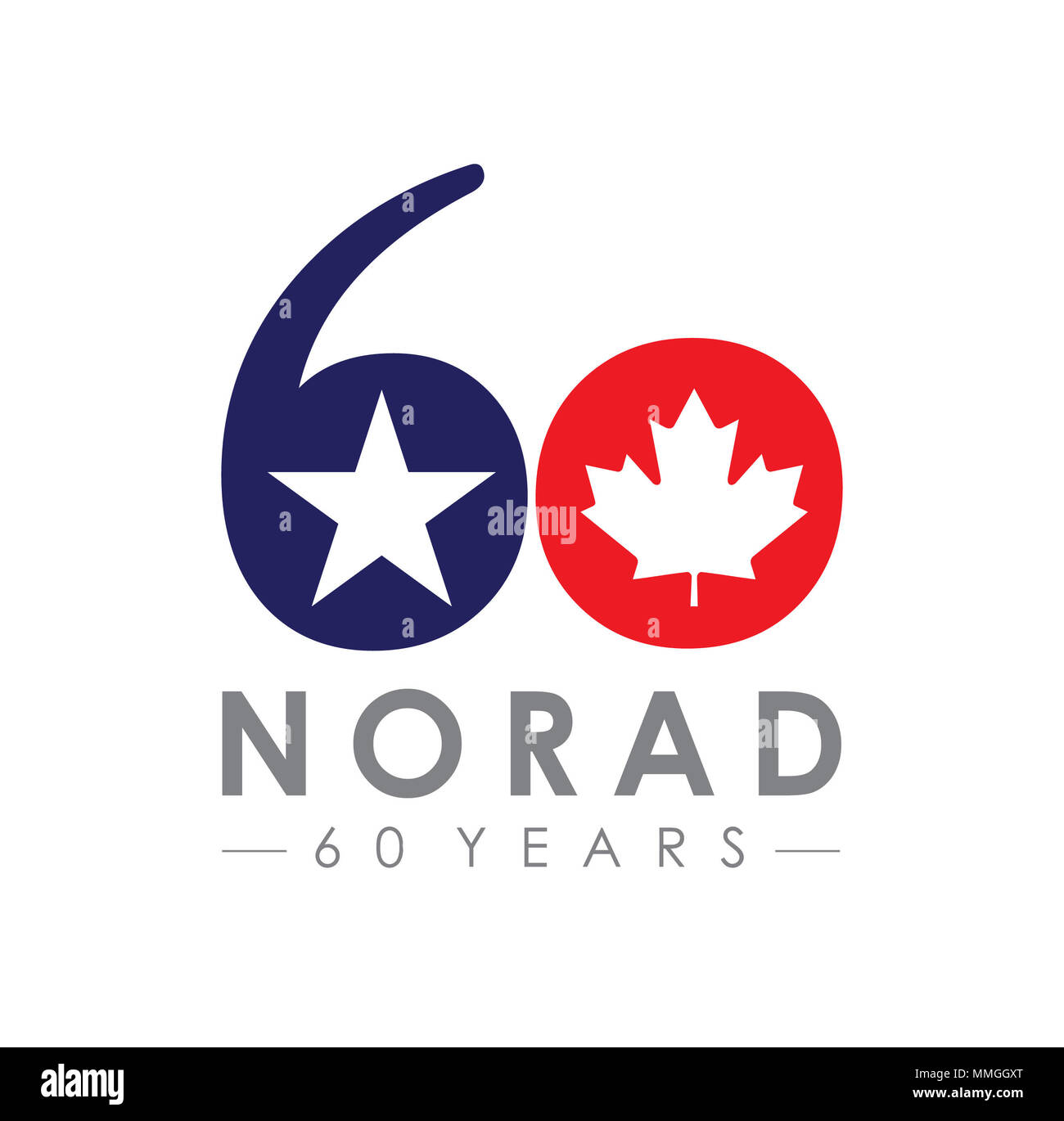 This graphic was one of three created for a design competition honoring the 60th anniversary of the North American Aerospace Defense Command on Peterson Air Force Base, Colorado, for use across social media, print collateral, video products and the tail flash of an F/A-18 Hornet. The design combines the colors and symbols synonymous with both Canada and the United States as they are the partnered countries of NORAD. The official graphic will be picked and released in 2018. (U.S. Air Force graphic by Senior Airman Dennis Hoffman) - Stock Image