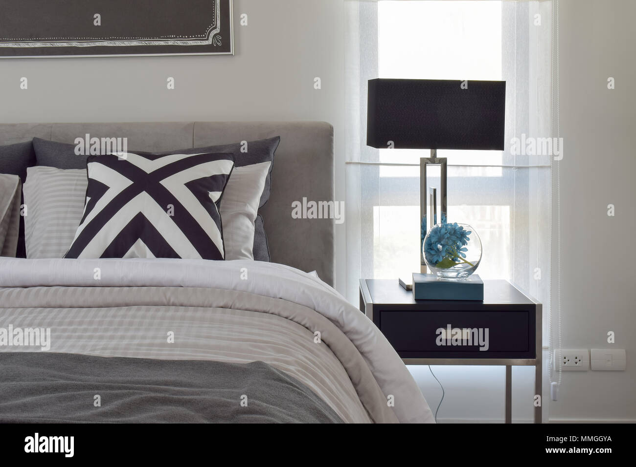 Picture of: Black Shade Reading Lamp On Bedside Table With Modern Classic Style Bedding Stock Photo Alamy