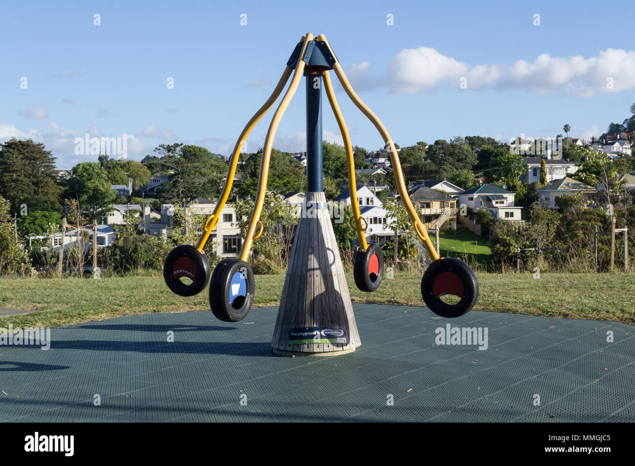 Auckland, New Zealand. Children's playground in Newmarket park, designated as a smoke free area Stock Photo