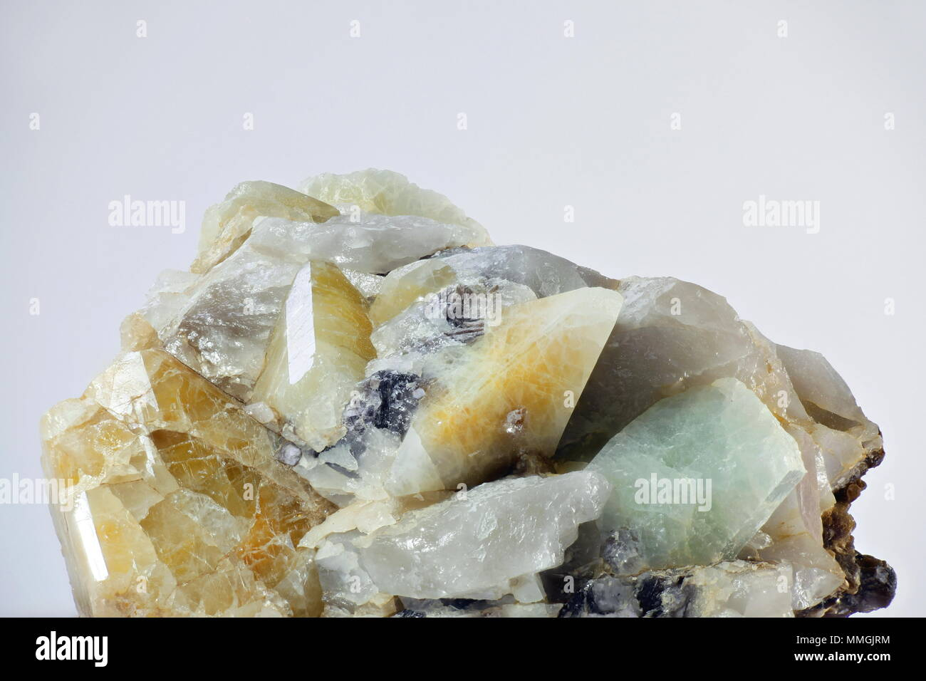 Crystals of topaz in matrix from Viitaniemi feldspar quarry in Finland - Stock Image