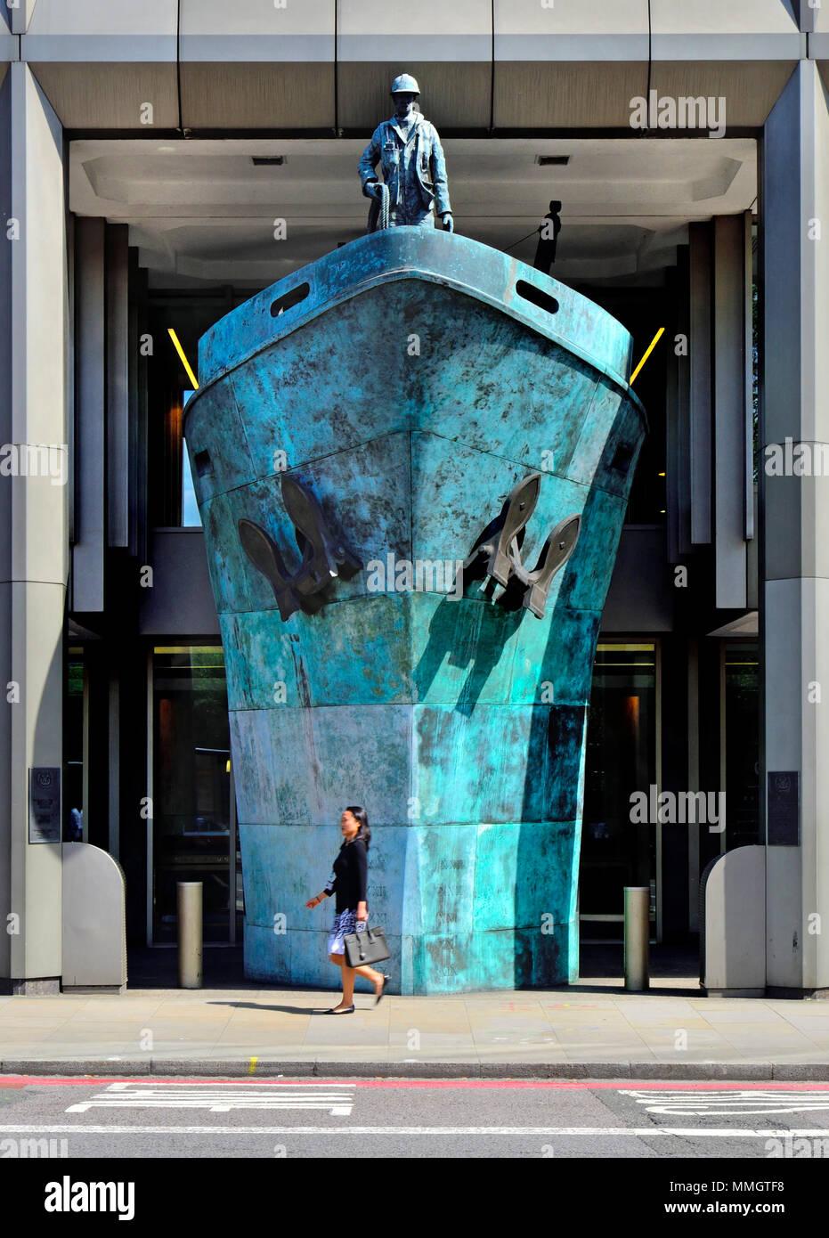 London, England, UK. International Memorial to Seafarers (2001; Michael Sandle) at the International Maritime Organisation, Albert Embankment, Lambeth.. - Stock Image