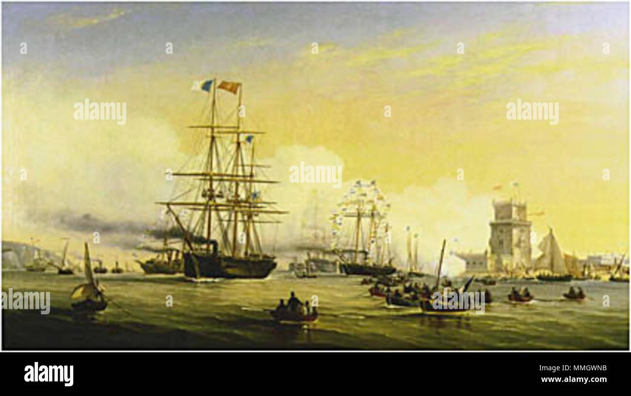 . Chegada a Lisboa da Rainha Dona Estefânia a bordo da corveta 'Bartolomeu Dias'  . 1859. João Pedroso (1825-1890) CorvetaBartolomeuDias1859 - Stock Image