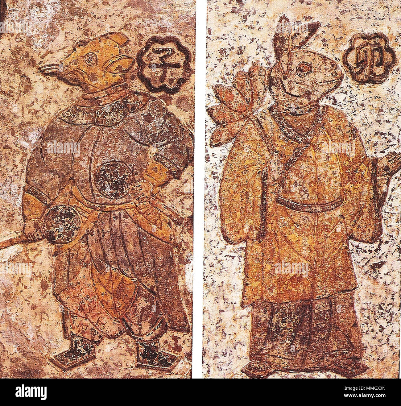 Paintings On Ceramic Tile From The Chinese Han Dynasty 202 Bc 220 Ad These Figures Cloaked In Han Chinese Robes Represent Guardian Spirits Of Certain Divisions Of Day And Night