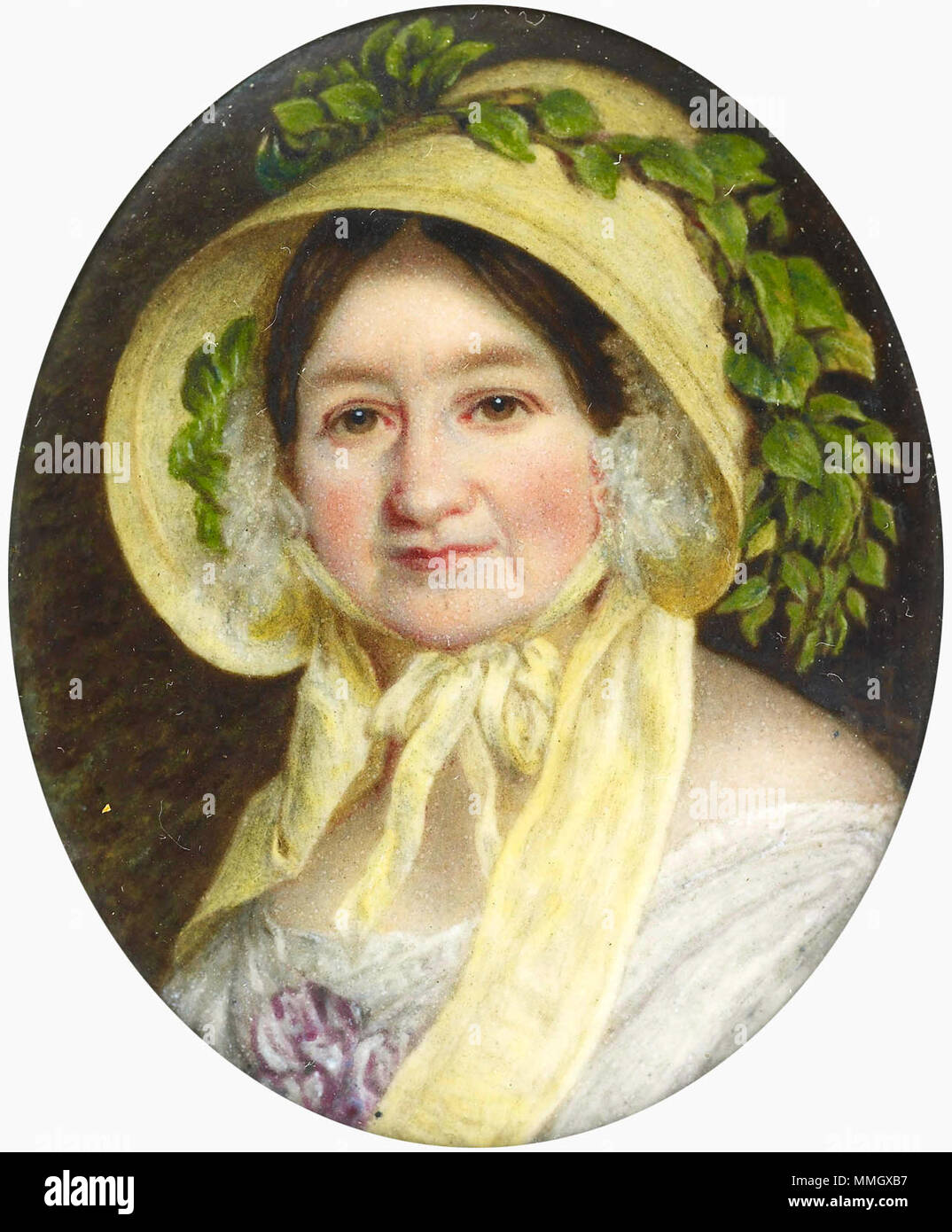 . Joseph Lee'e enamel copy derives from Franz Xaver Winterhalter's three-quarter-length oil portrait of the Duchess dating from 1848 (404524; Royal Collection). She is shown wearing a white day dress and a large straw bonnet tied with a broad yellow ribbon. The original shows her standing in a landscape probably intended to represent Boissière near Geneva, where she lived a retired life following her divorce in 1820 from the Grand Duke Constantine of Russia. Her unhappy life had taken a toll on her appearance. By 1841, her niece, Princess Feodora reported to her half-sister, Queen Victoria: 'I - Stock Image