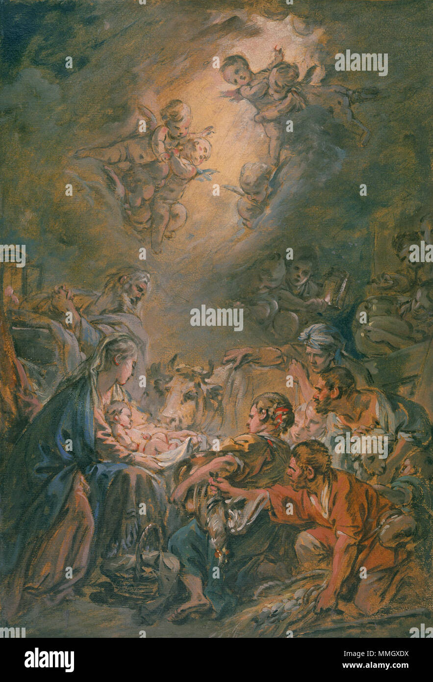 Working Title/Artist: Adoration Department: Drawings & Prints Culture/Period/Location:  HB/TOA Date Code:  Working Date: ca. 1760-70 photography by mma 1997/98, transparency #1ad scanned and retouched by film and media (jn) 8 20 03 François Boucher - The Adoration of the Shepherds - Stock Image
