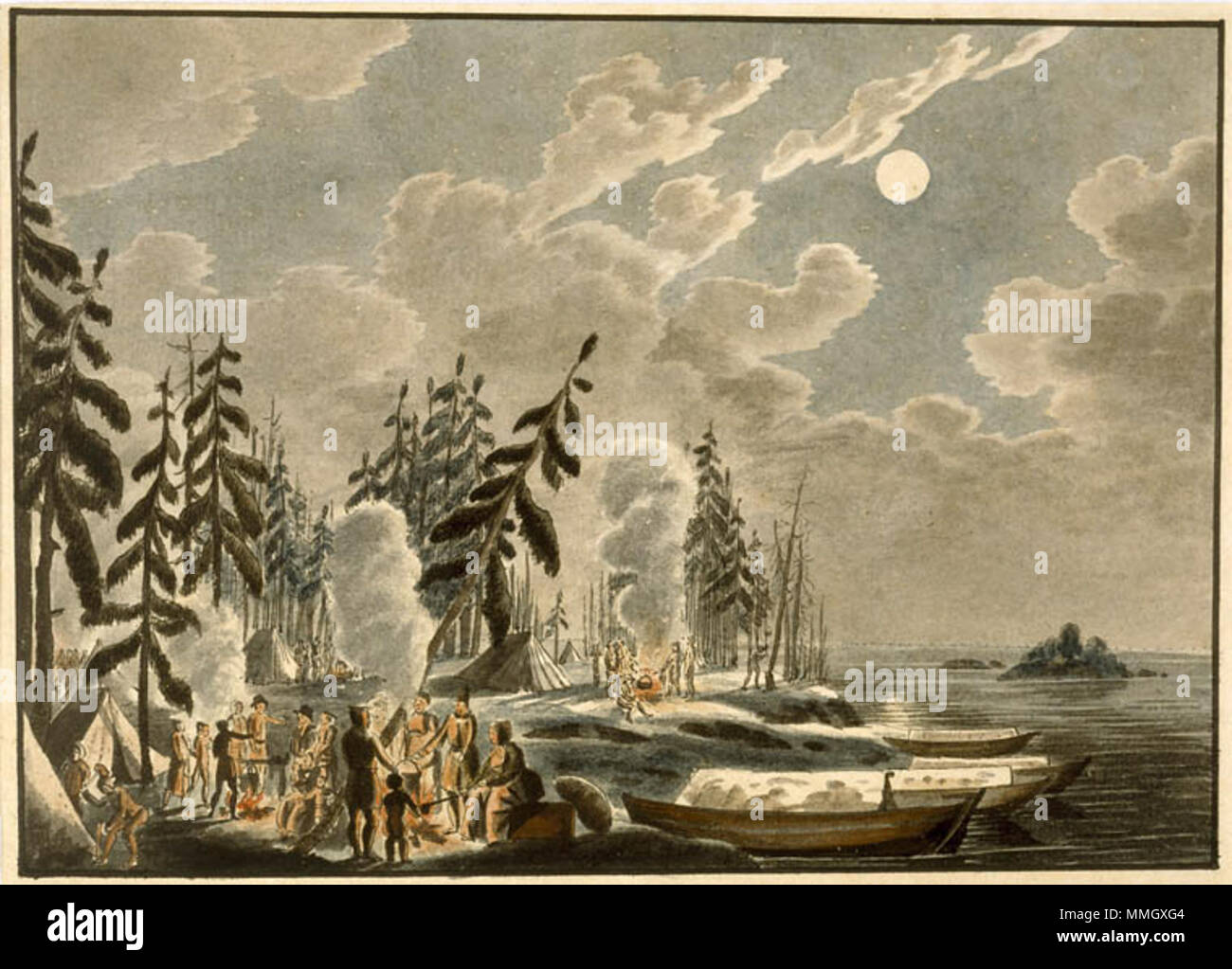 . English: Swiss immigrants camped on the shores of Lake Winnipeg in the autumn of 1821 after their boat was wrecked while en route to Red River  . 1821. Peter Rindisbacher 1806-1834 Cold night camp on the inhospitable shores of Lake Winnipeg - Stock Image