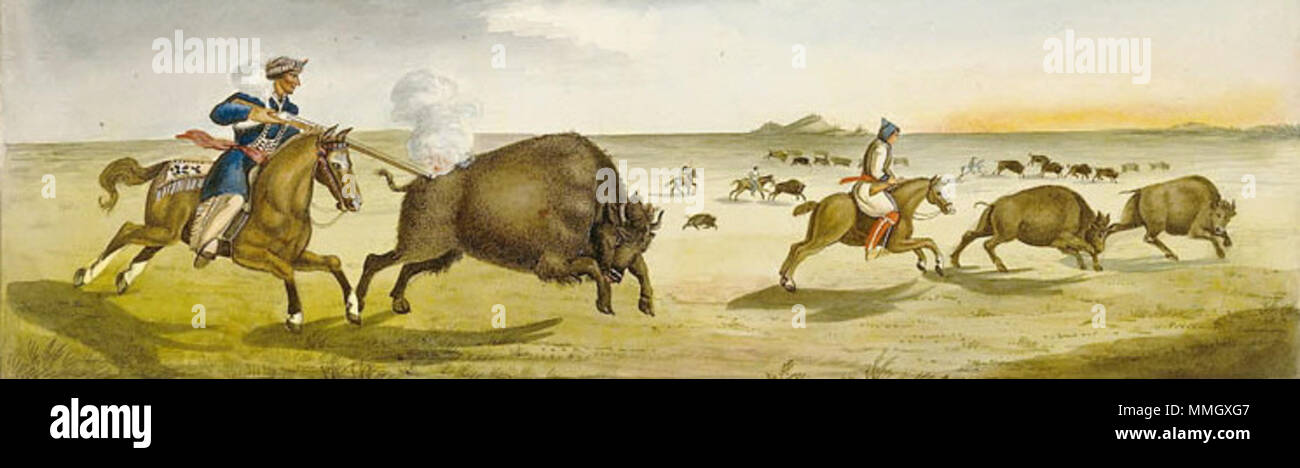 . Français : Chasse au bison en 1822  . 1822. Rindisbacher, Peter, 1806-1834. Chasse au bison 1822 - Stock Image
