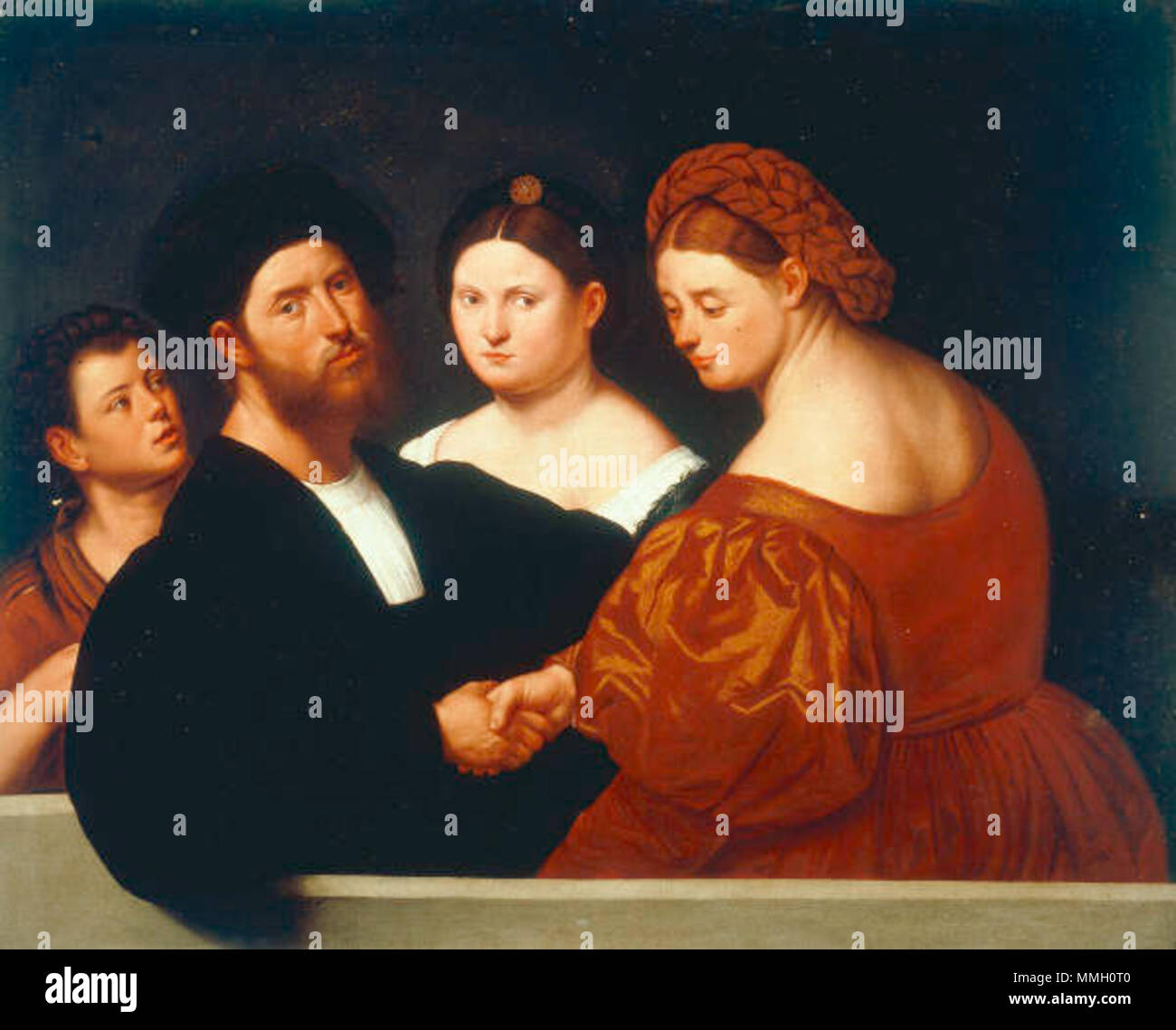 . Family portrait  . 16th century.   Bernardino Licinio  (1489–1565)     Description Italian painter  Date of birth/death circa 1489 circa 1565  Location of birth/death Poscante Venice  Work period Renaissance  Work location Venice  Authority control  : Q2629038 VIAF:?67533645 ULAN:?500018969 WGA:?LICINIO, Bernardino GND:?129005681 RKD:?49912 Bernardino Licinio 030 - Stock Image