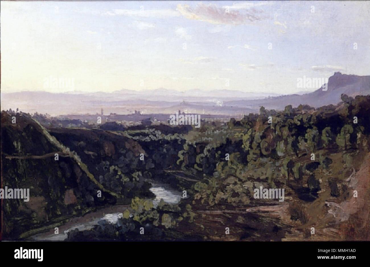 French: Papigno, rives escarpées et boisées. 1826. Corot Papigno rives escarpees et boisees Stock Photo